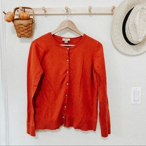 LOFT red knit cardigan size Large crystal buttons